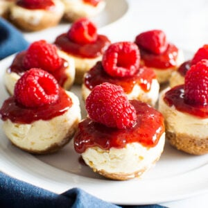 instant pot cheesecake bites on white plate