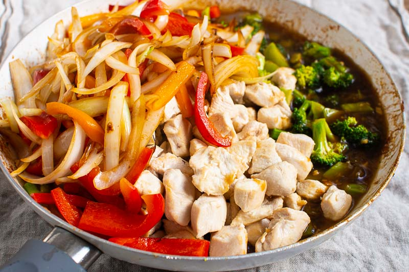 chicken stir fry ingredients in white skillet