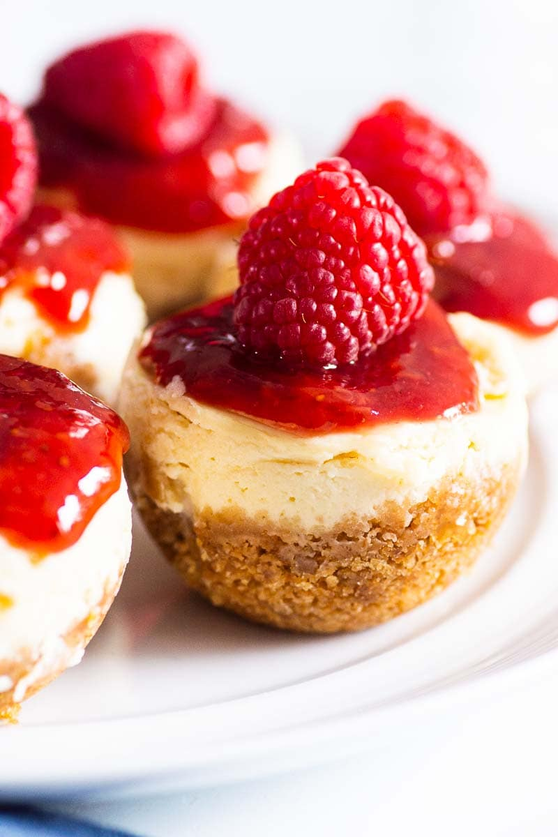 instant pot cheesecake bites with jam and raspberry