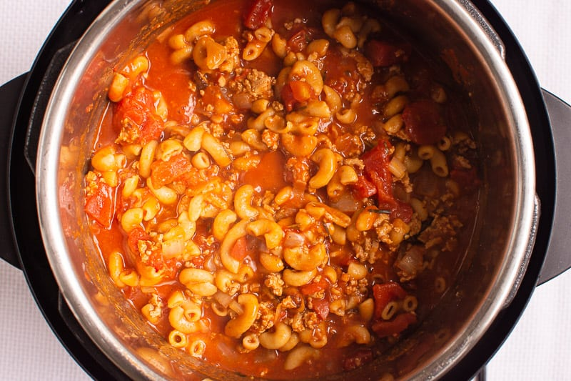 Instant Pot Goulash cooked in instant pot
