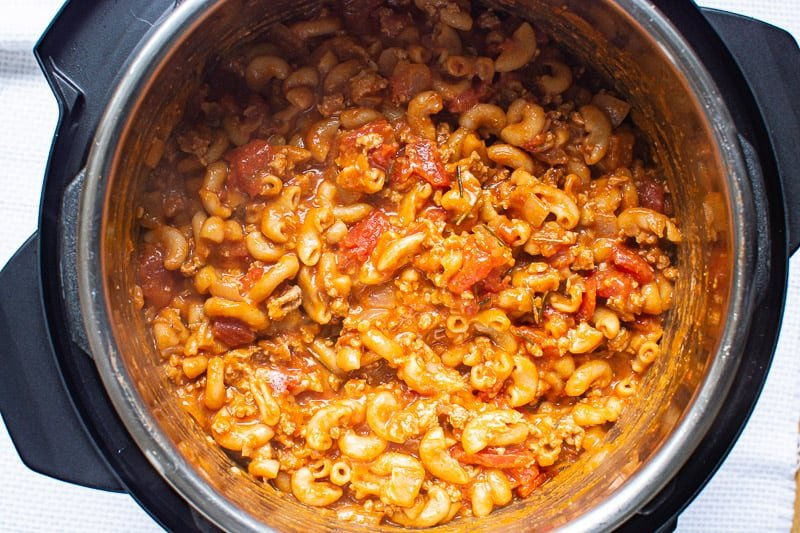 Instant Pot Goulash with melted cheese