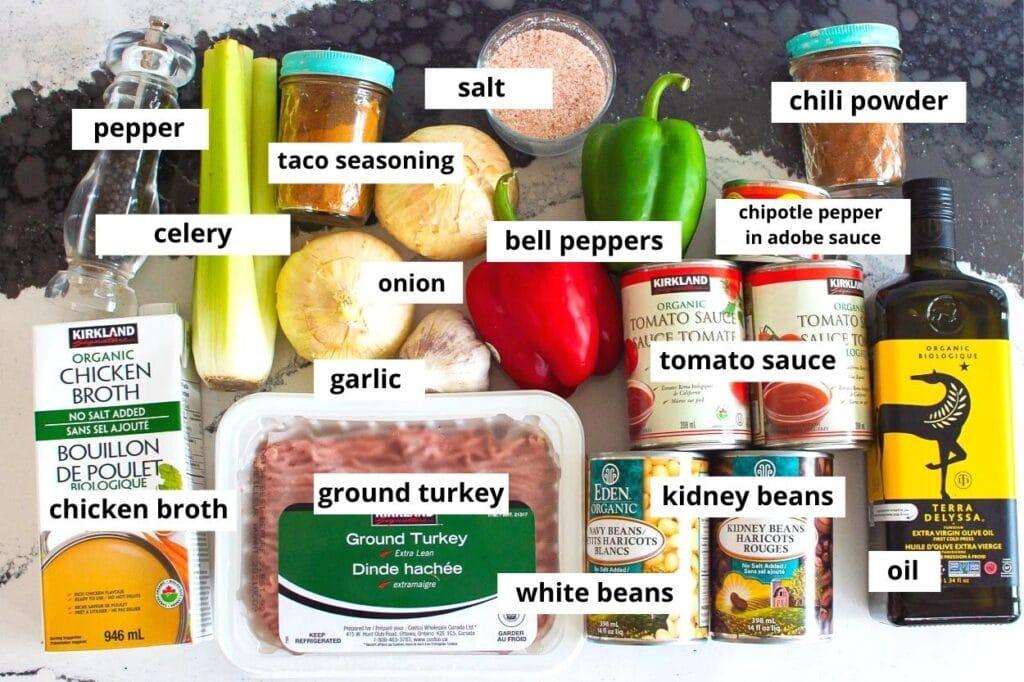 healthy turkey chili ingredients beans onion ground turkey tomato sauce