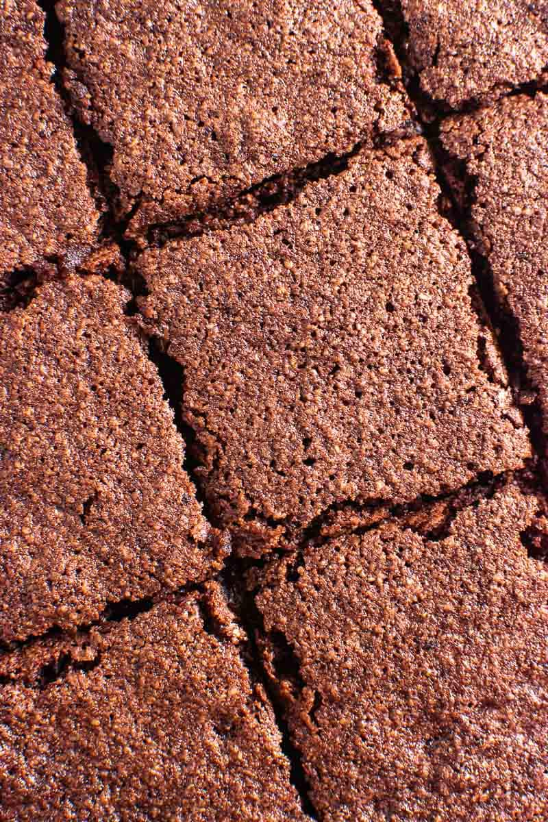 almond flour brownies cut up view from top