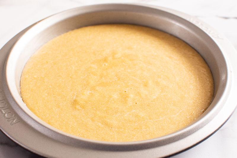 cake batter in a cake pan