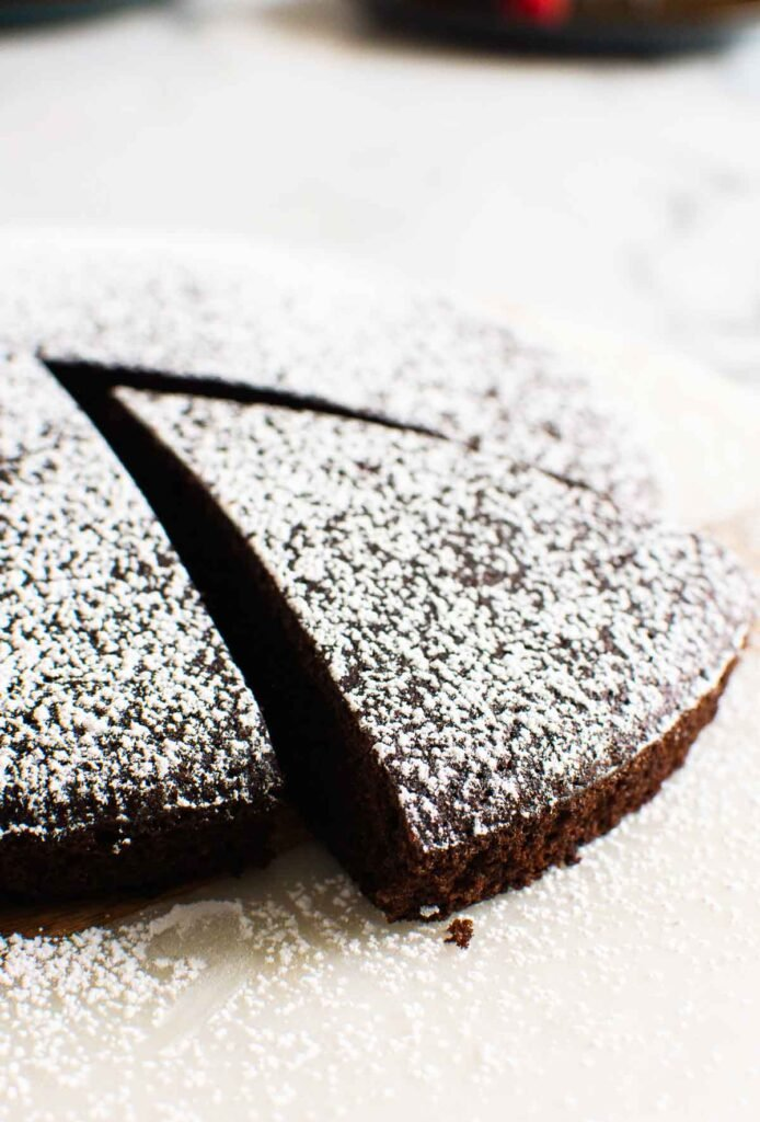 Almond Flour Chocolate Cake dusted with icing sugar