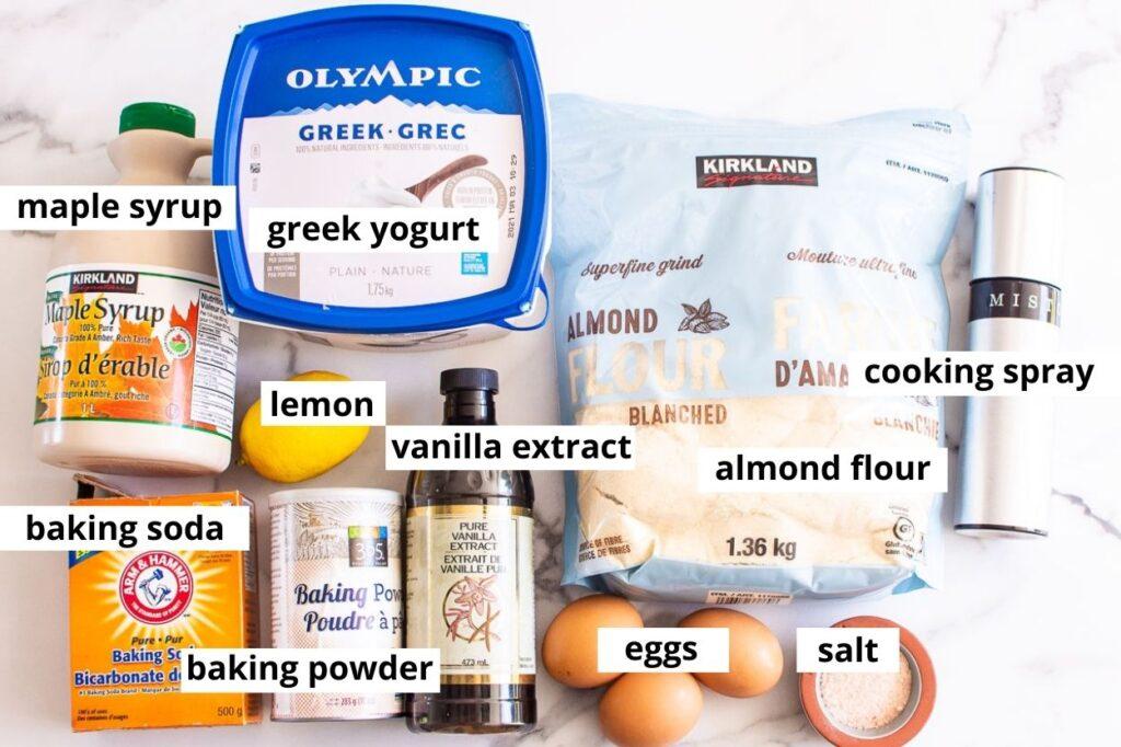 eggs, yogurt, almond flour, lemon, baking essentials, vanilla, salt