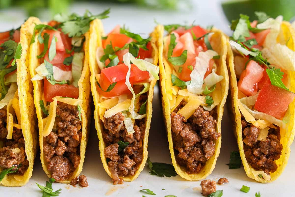 Close up of a row of Ground Beef Tacos
