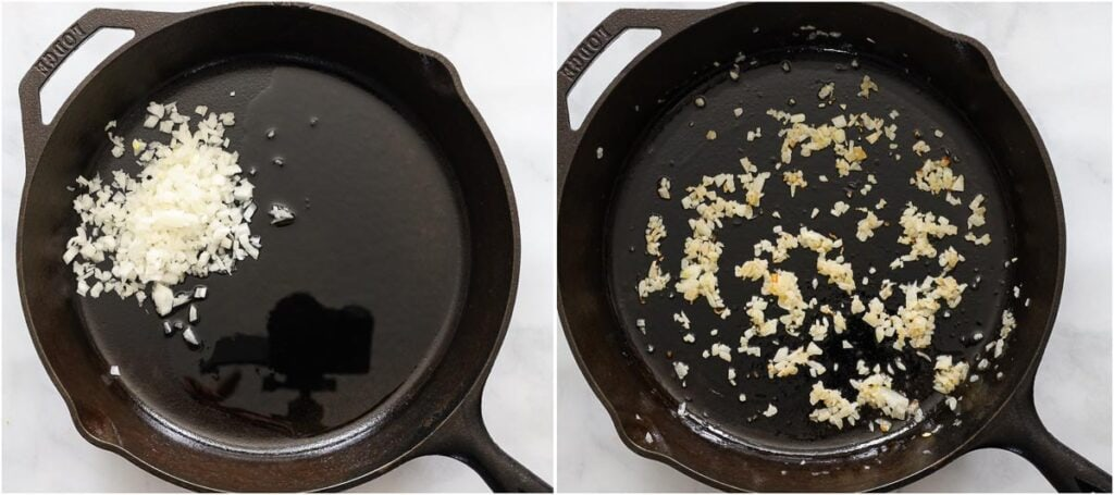 Steps to make Ground Beef Tacos, including sauteing minced onion in a skillet until browned and translucent.