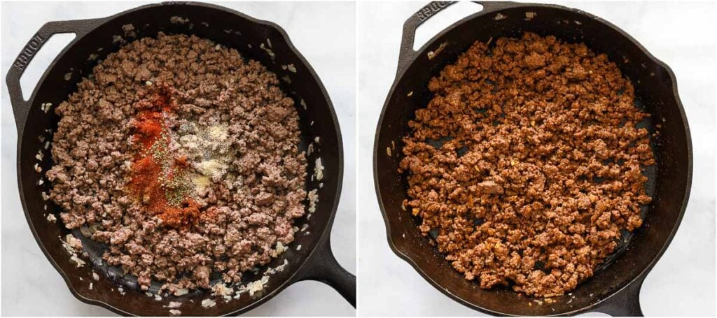 Steps to make Ground Beef Tacos, including cooking the meat in a skillet with spices.