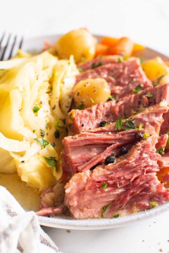 instant pot corned beef and cabbage recipe on a plate