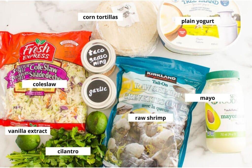 shrimp tacos with slaw ingredients