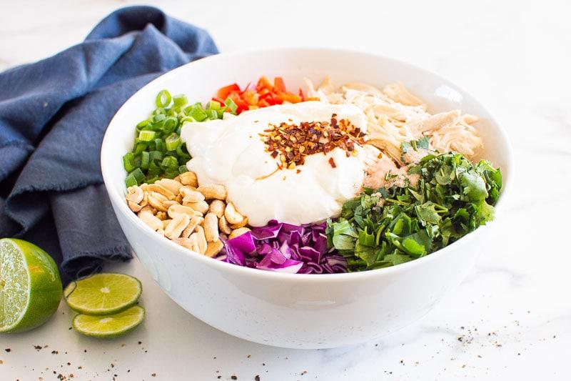 shredded chicken, bell pepper, green onion, peanuts, slaw, cilantro and yogurt