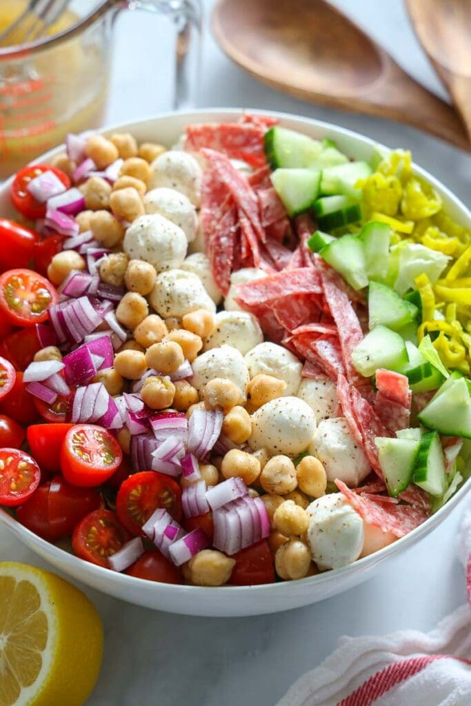 Vertical image of Italian Chopped Salad before mixing
