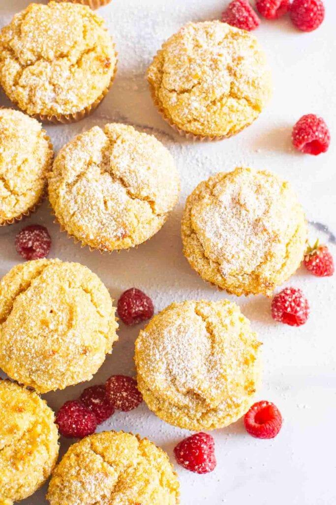 nine gluten free muffins on a kitchen counter