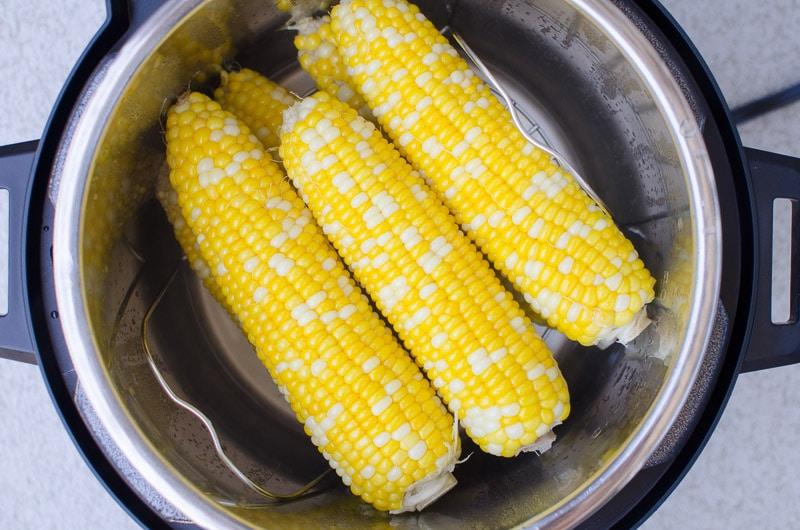 cooked corn inside pressure cooker