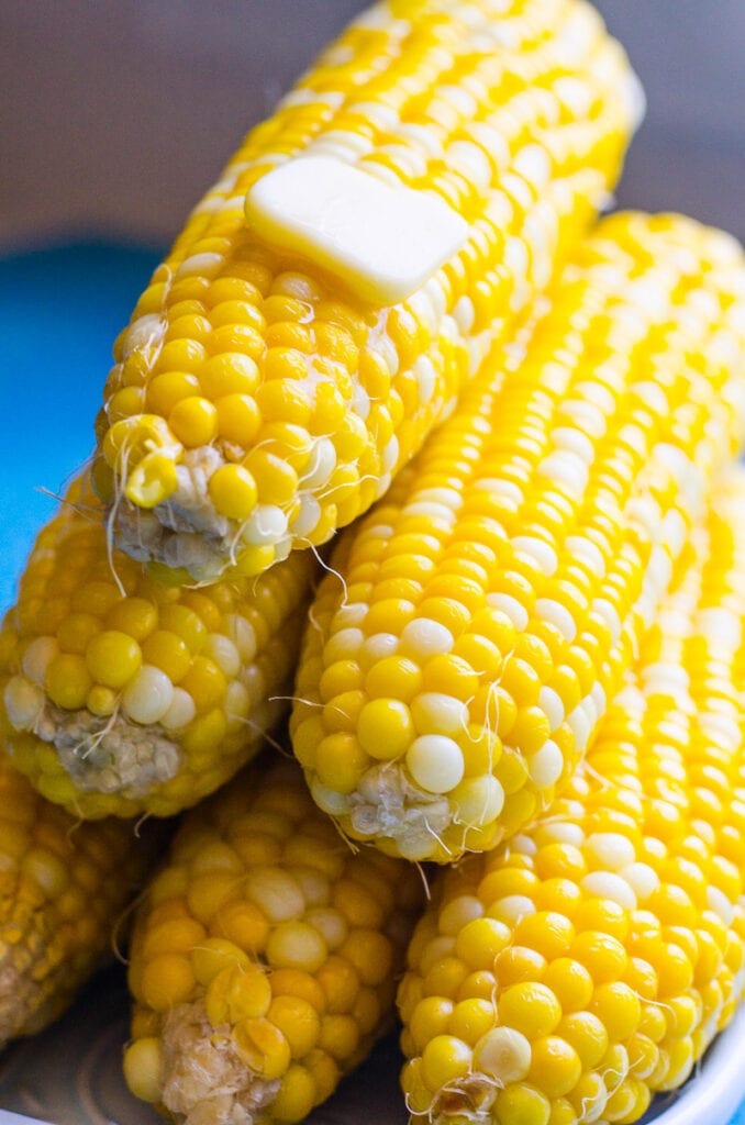 instant pot corn on the cob with butter on top