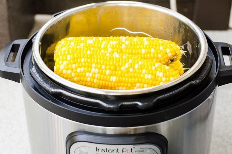 instant pot corn on trivet inside the pot