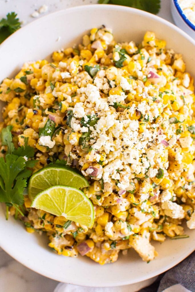 elote corn salad with red onion, feta, lime and cilantro