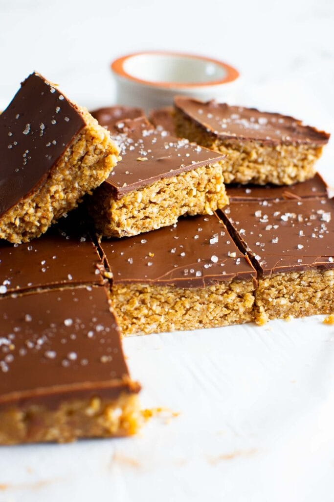 stack of no bake peanut butter oatmeal bars