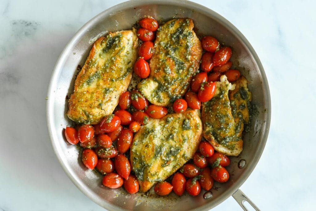 Overhead view of Pesto Chicken in a pan