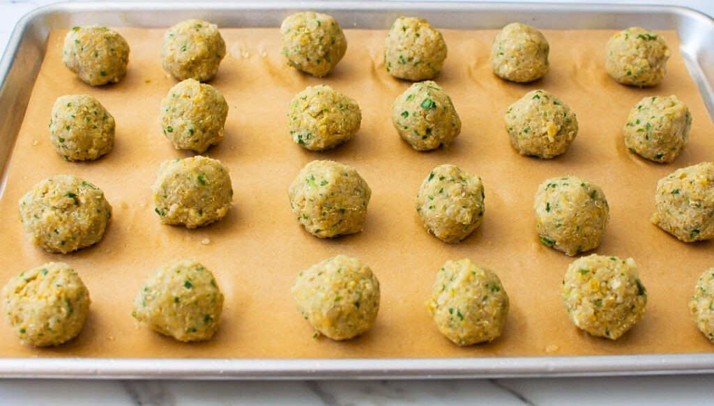 baked falafel recipe made into balls ready to bake in oven