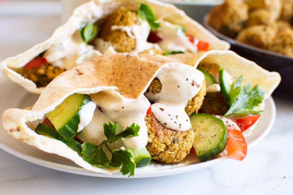 baked falafel dinner serving idea
