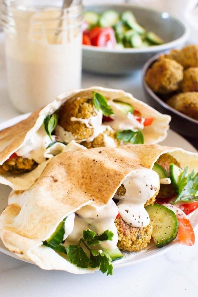 quinoa falafel in pitas