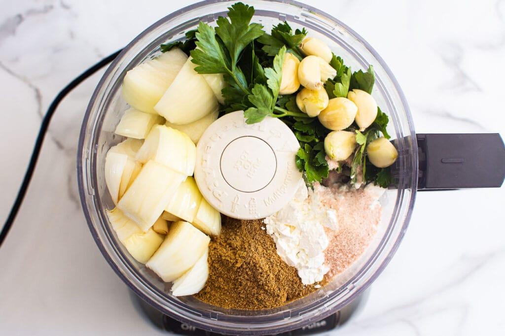quinoa falafel recipe ingredients in food processor