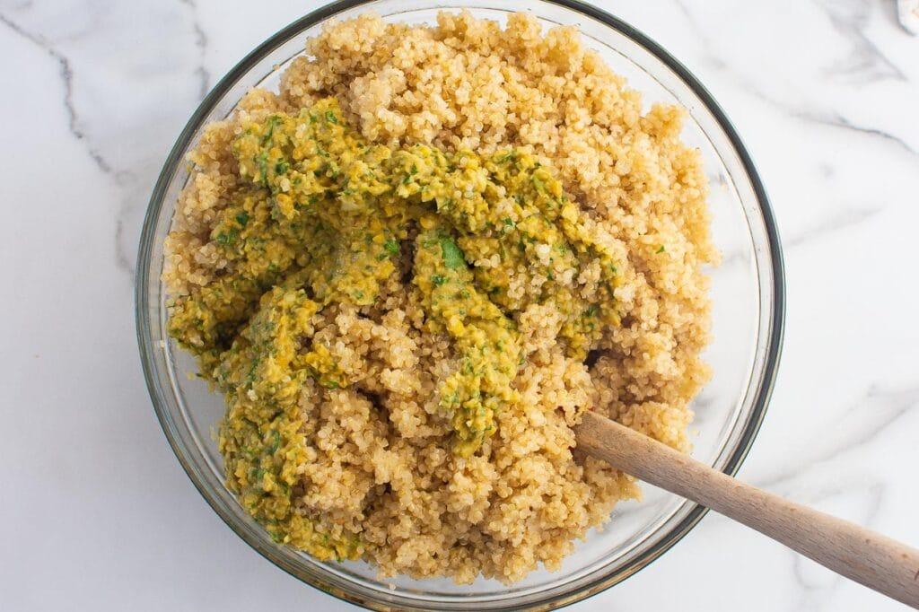 quinoa falafel in bowl with spoon
