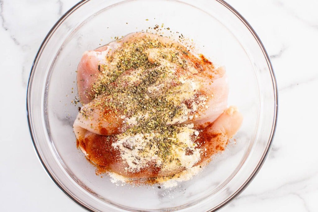 chicken breast coated in seasonings for air fryer