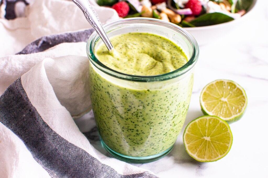 avocado cilantro dressing ready to be served