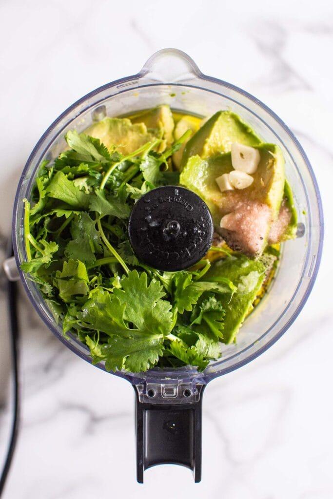 avocado cilantro dressing ingredients in food processor
