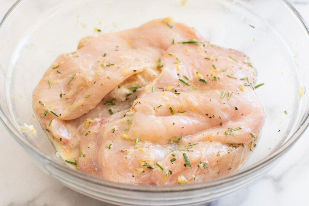 lemon rosemary chicken marinade in a bowl