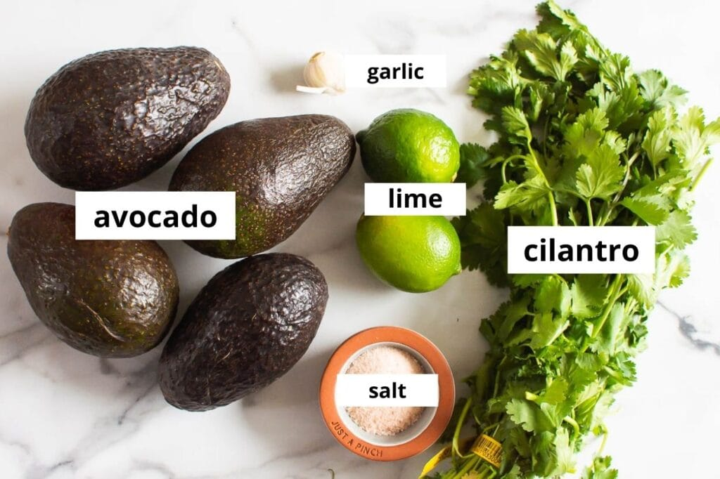 ingredients for simple guacamole