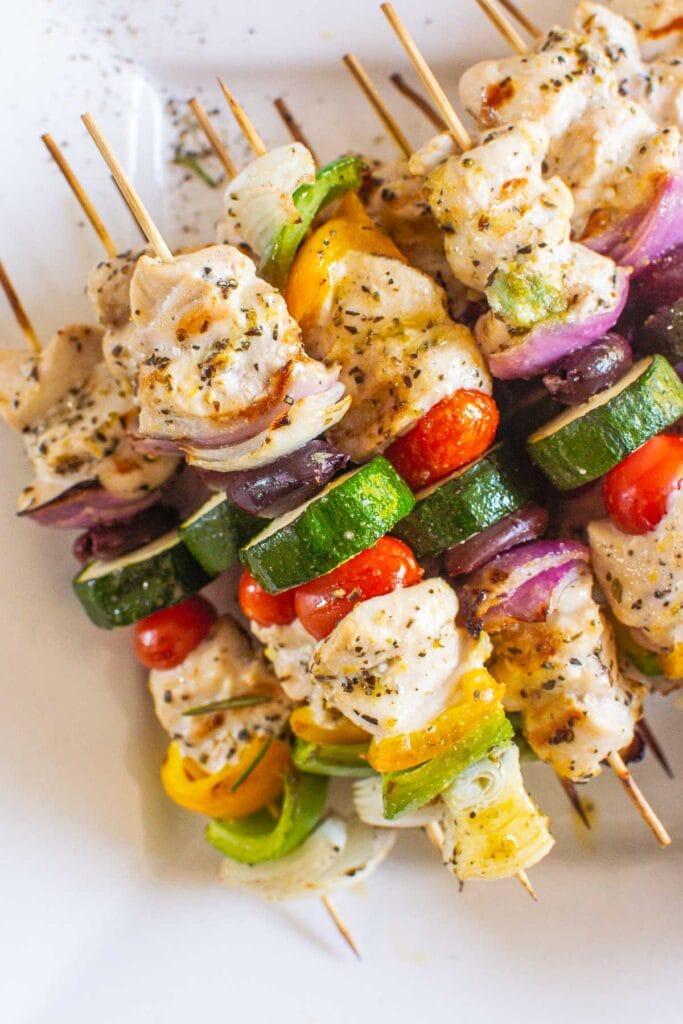 greek chicken kabobs on skewers