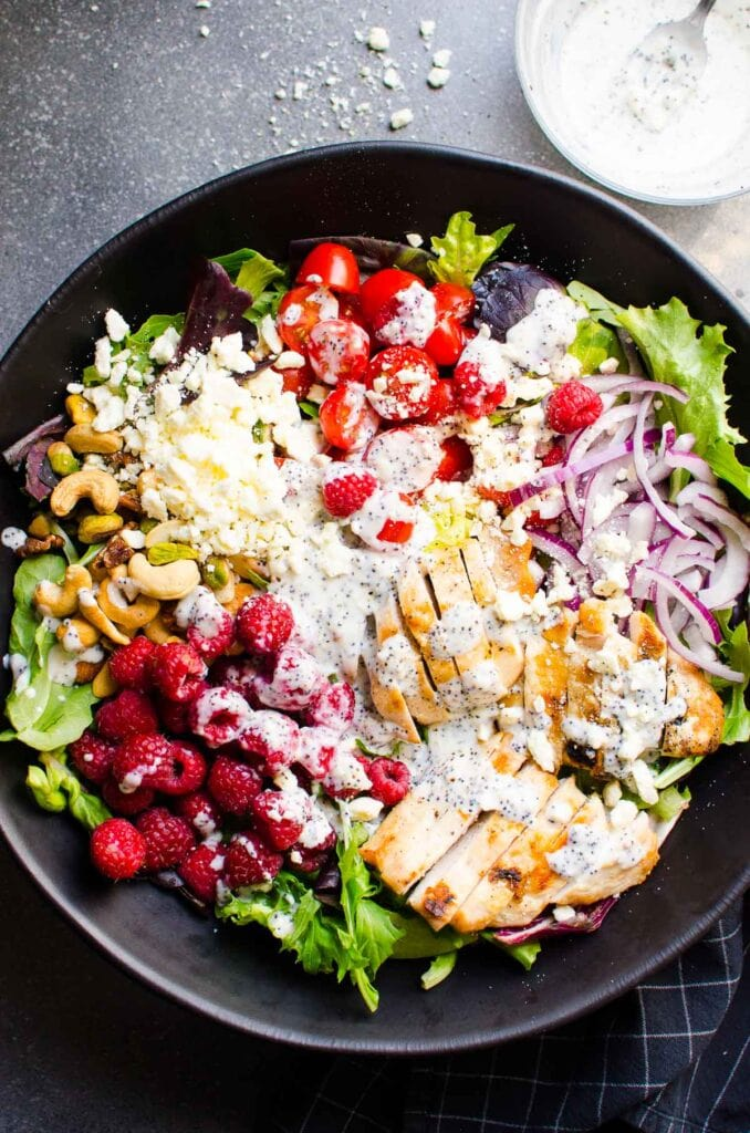 grilled chicken salad recipe with poppy seed dressing in small bowl