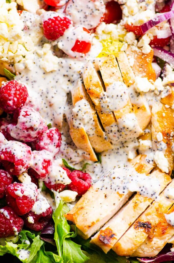 close up of grilled chicken salad with dressing