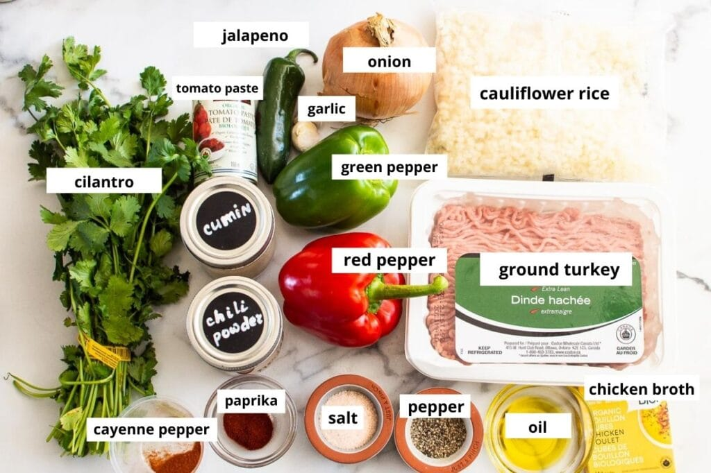 ingredients for mexican cauliflower rice