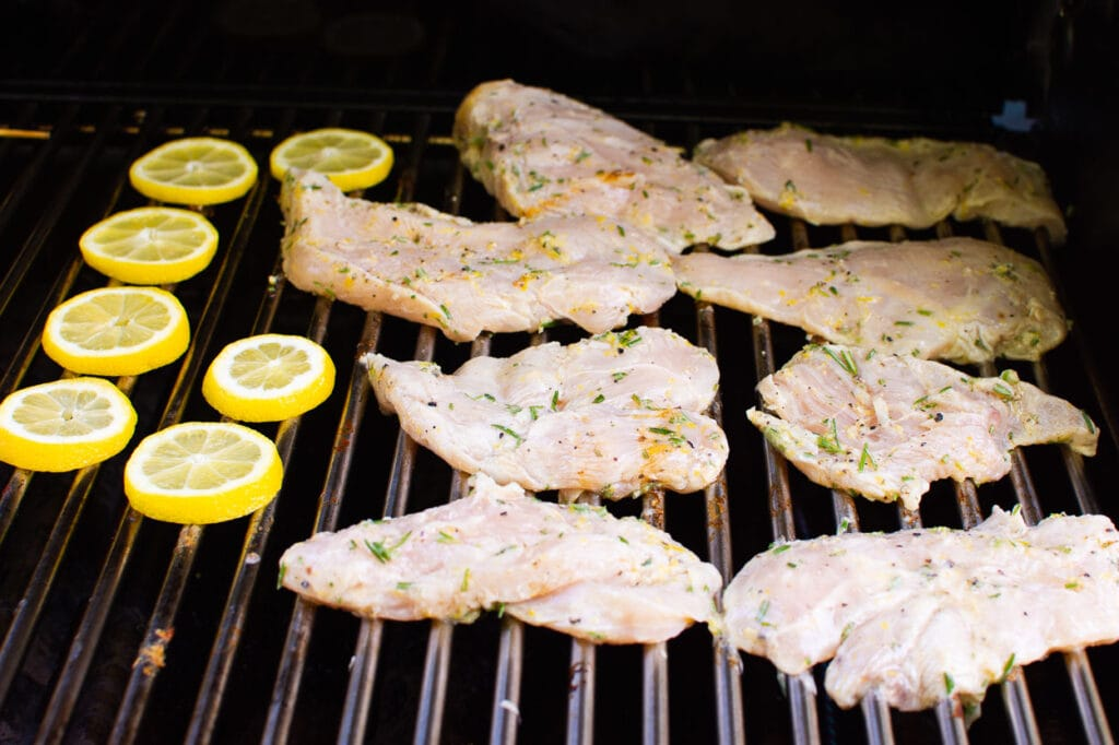 lemon and rosemary on grill