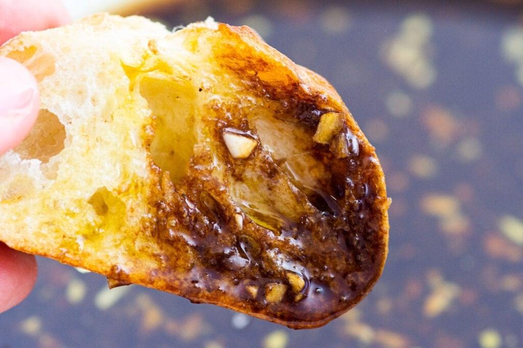 bread soaked in olive oil dip