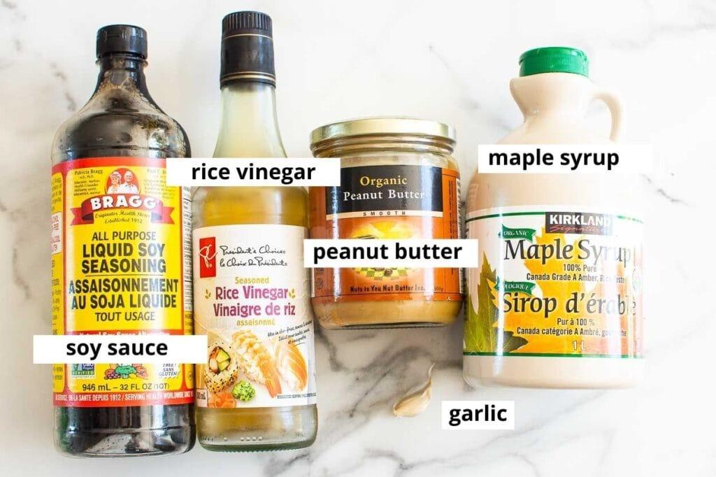 peanut sauce ingredients on background