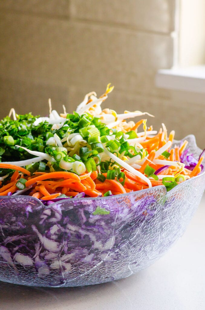 peanut slaw on counter with window in background