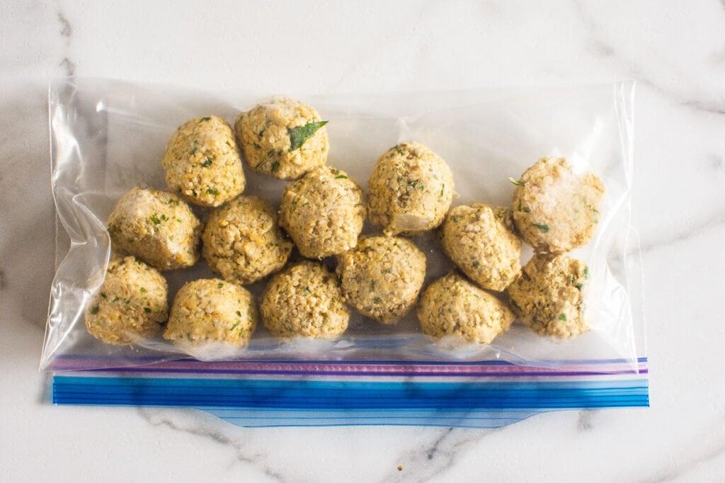 chickpea quinoa falafel recipe in freezer bag