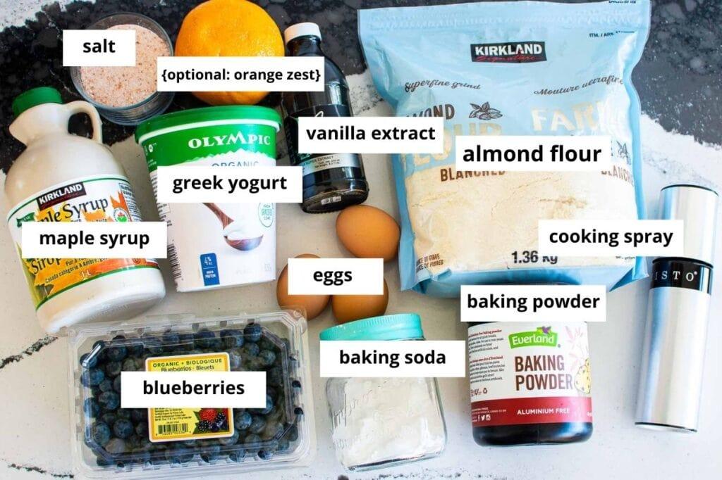 almond flour blueberry muffins ingredients