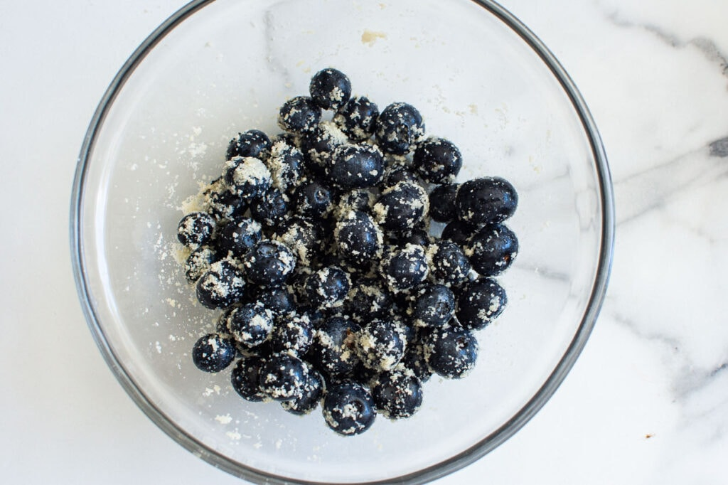 almond flour tossed gently with fresh blueberries