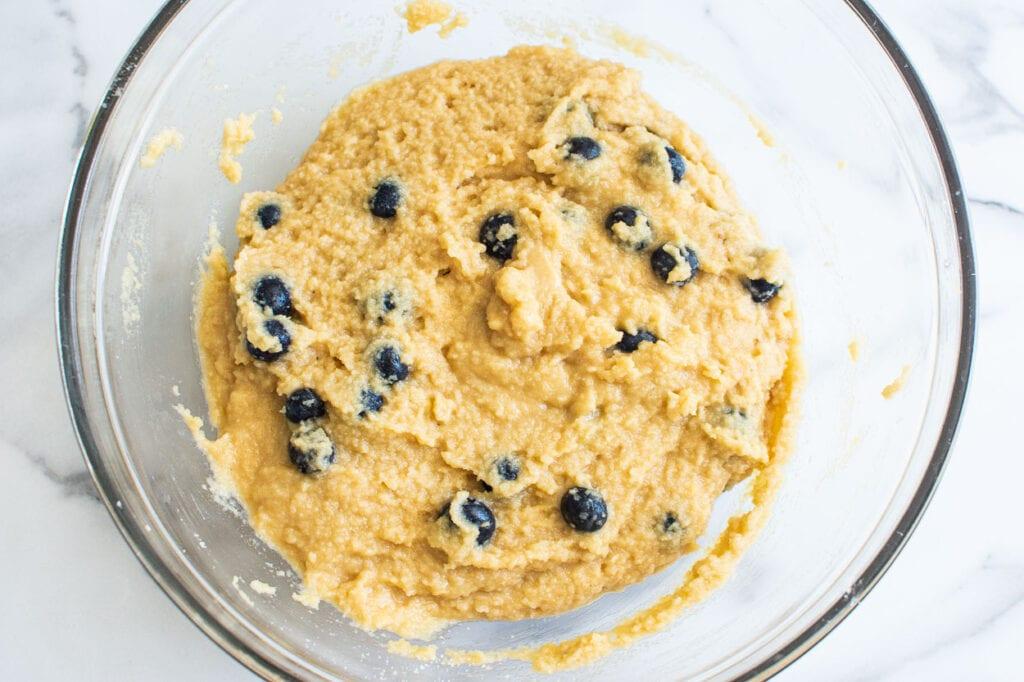 almond flour blueberry muffins batter