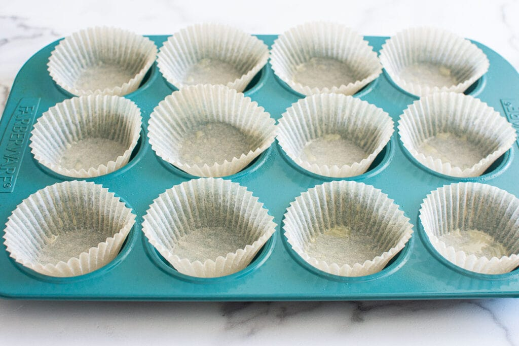 parchment lined cupcake pan
