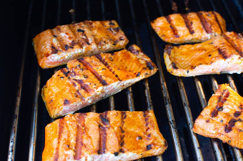 grilled salmon on grill grates