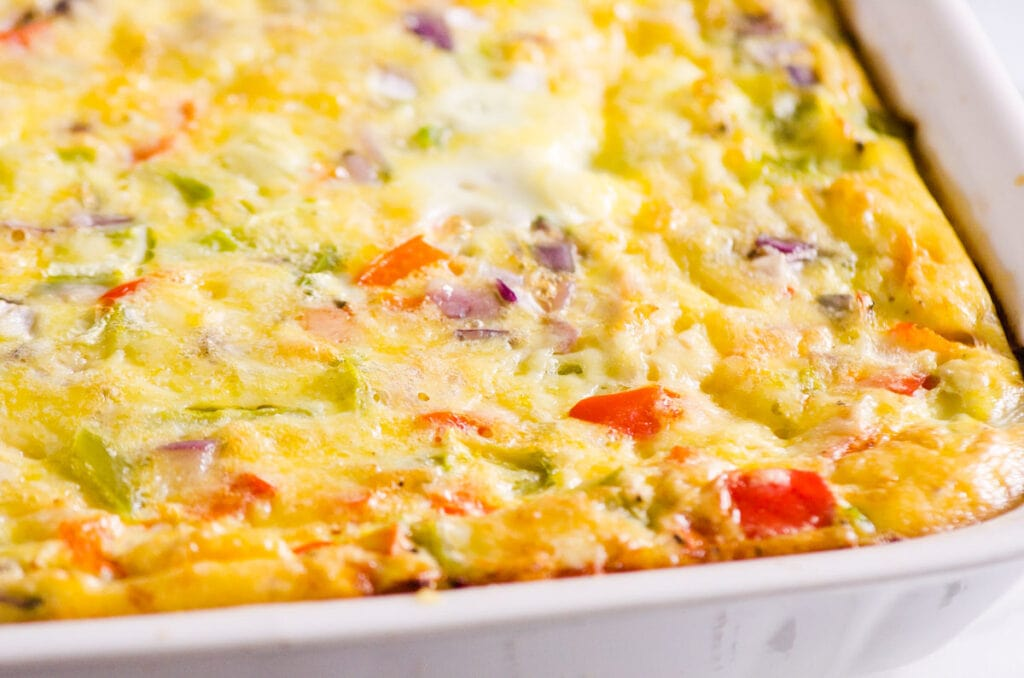 healthy egg bake with potatoes in serving pan