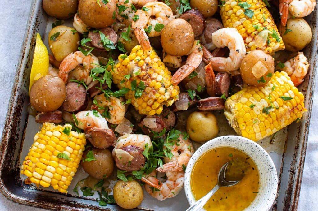 instant pot shrimp boil ready for serving